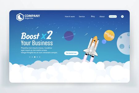 Boost Business Website Landing Page Vector Template Design Concept Stock Vector - 135502955
