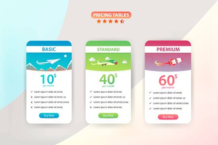 Pricing Table 3 Different Plane Vector Template Design
