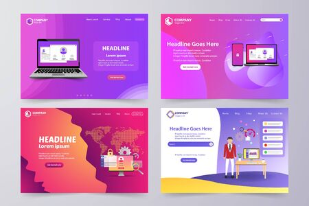 Collection of landing page Modern vector theme template design