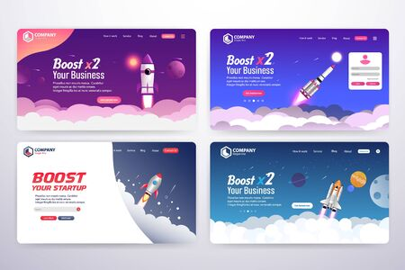 ollection of Boost Business Website Landing Page Vector Template Design Concept Archivio Fotografico - 136397142