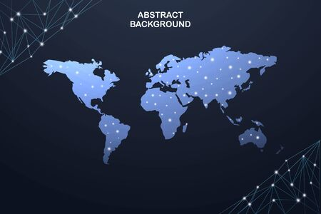 Global network connection. World map point and line composition concept