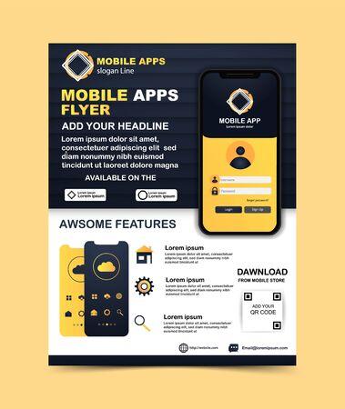 Mobile app flyer template Vector template Archivio Fotografico - 137883417