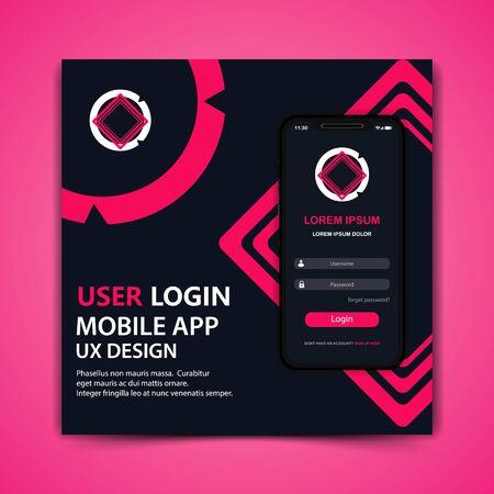 mobile user login app template design vector