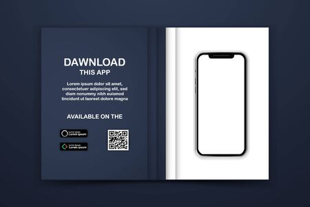 Download page of the mobile app mock-up vector