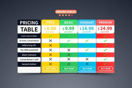 colorful Pricing Table Template banner with five Plan design Vettoriali