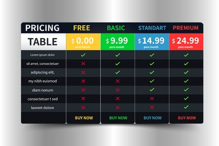 Pricing Table Template banner with five Plan Dark Design