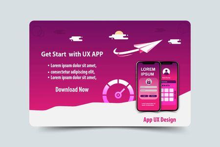 Mobile app ux design vector template concept Archivio Fotografico - 136639314