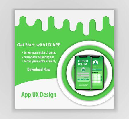 Mobile app ux design vector template concept Vettoriali
