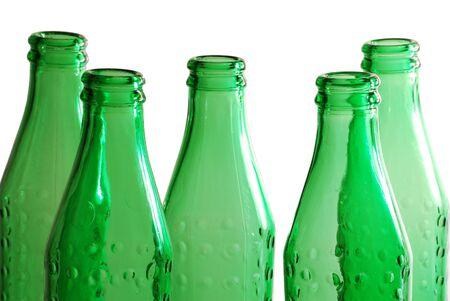 liquidate: Green glass bottles