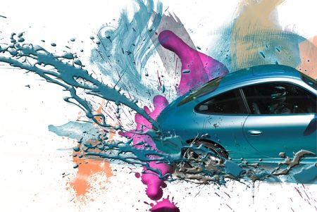 body paint: Coche deportivo de color azul. Ilustraci�n. Foto de archivo