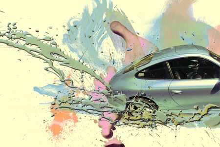 action fund: Sports car celestial color. Illustration.