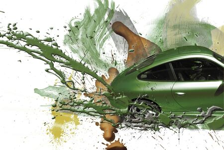 body paint: Coche deportivo de color verde. Ilustraci�n.