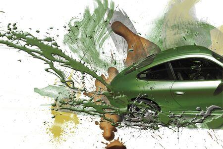 Sports car green color. Illustration. Stock Illustration - 4948942