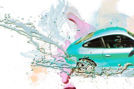 body paint: Coche deportivo de color turqueza. Ilustraci�n. Foto de archivo