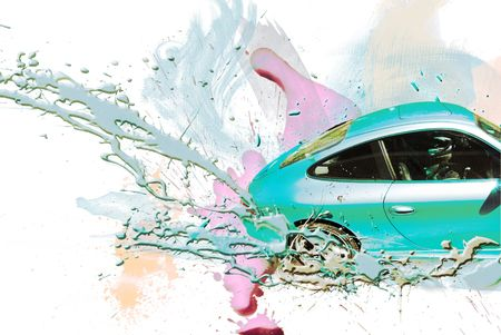 action fund: Sports car turqueza color. Illustration.