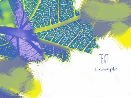 oxygenated: Leaf, photography and drawing with paintbrushes, alive colors with brushstrokes, white bottom and text