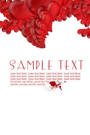 card red hearts and text space