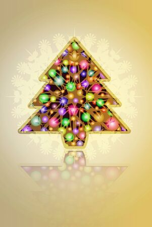 original sparkle:  Christmas card. tree and balls