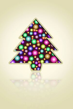 Christmas tree with bright colored balls liso.tarjeta congratulatory background Stock Photo - 8222131