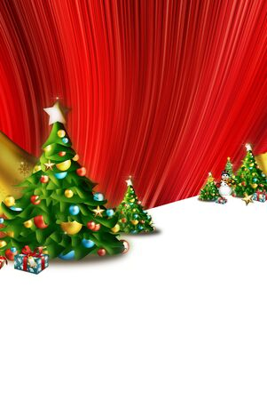original sparkle: card, beautiful red striped background, trees, firs and pines, decotrativas colored balls. Gifts
