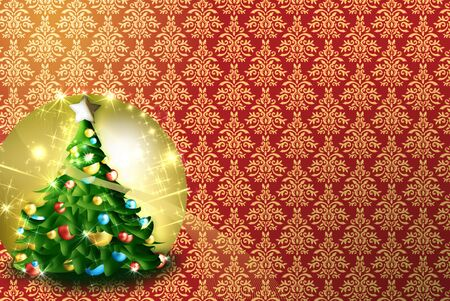 newyear card: greeting card, background patterns. designs in gold and red. golden colored tree ornaments and Christmas lights