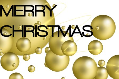 golden bubbles. overlapping areas, white background and text. Christmas Cards Stock Photo - 8222136