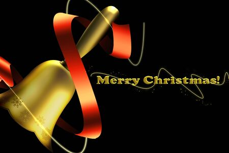 original sparkle: bronze bell. golden color with pictures of stars, black background and text of Christmas. attractive red ribbon Stock Photo