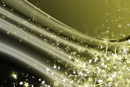 fall green and gold star, lighted christmas snowflakes Stock Photo