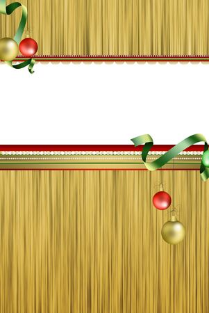Christmas card, space for white text, red and gold ties, christmas balls Stock Photo - 8222137