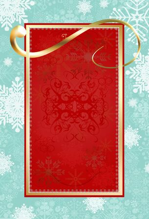 Christmas letter, space for text red, blue and snow-star Golden Bend Stock Photo - 8222141
