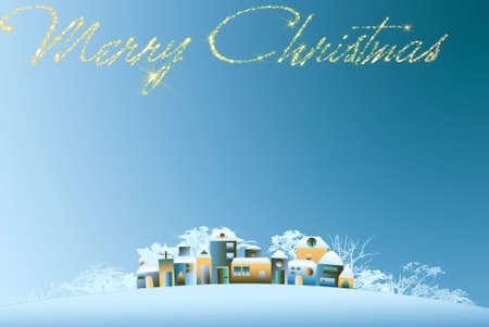 dawns: Christmas village, houses snowy Christmas day dawns