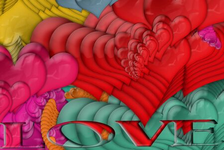 funding: colorful hearts and text