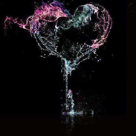 pink heart: heart from water splash
