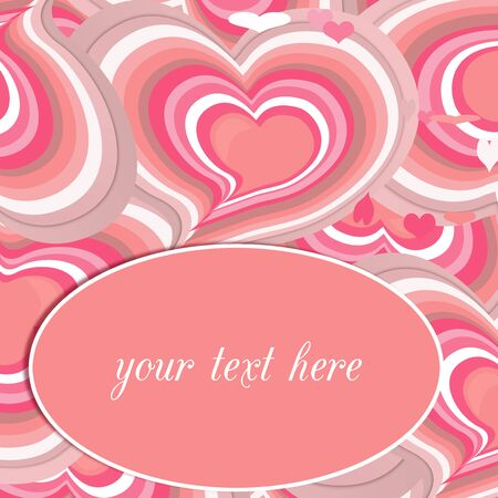 Pink hearts card, Valentines day. photo