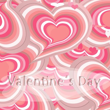 Pink hearts card, color bleeding, oval for text, Valentines day. illustration. text
