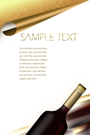 illustrated wine bottle. drinks menu  Stock Photo