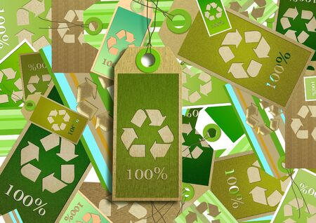 Collage. Card design recycling symbol. photo