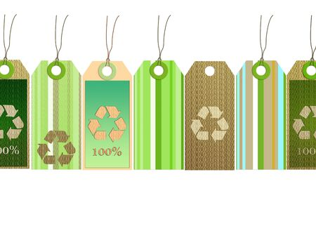 biodegradable material: tags design recycling symbol, green, blue, stripes Stock Photo