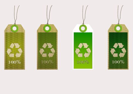 biodegradable material:  Four tags organic, modern design, green colors Stock Photo