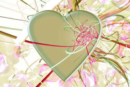 Heart  green and pink Stock Photo - 13889052