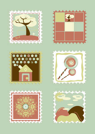 bue: Child stamp collection  Bue colors Stock Photo