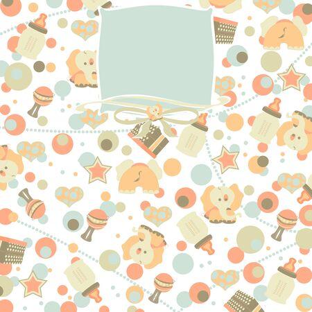 Retro Baby Girl Seamless Pattern Background photo