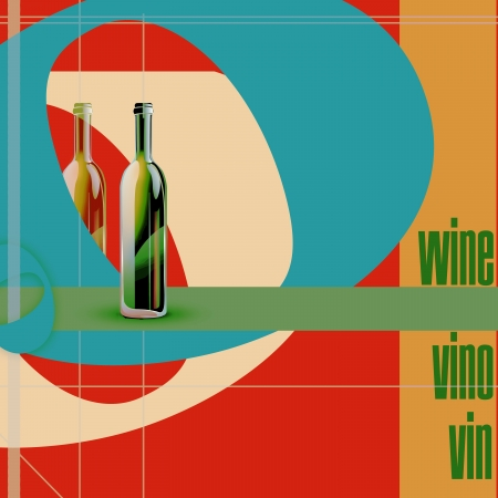vino: restaurant menu, bottles and colored figures  illustration Illustration