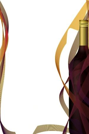 Wine list design, bottle  Vettoriali