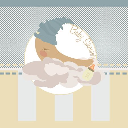 moon sleeping on clouds of cotton  striped background  illustration illustration