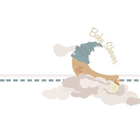 crescent sleeping on clouds  infant illustration  illustration