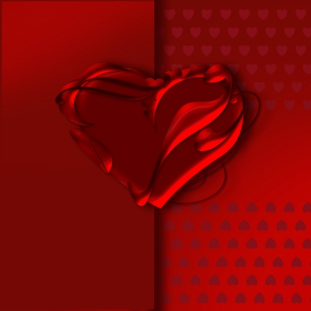 Greeting Card.  Red heart on red background. Vector