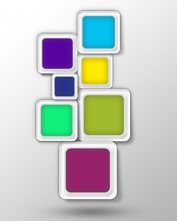 stuffing: abstract set of blocks, stacked colored squares  Vertical  position  illustration