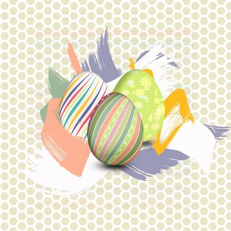 Three Easter eggs painted with brushstrokes funds  illustration Illustration