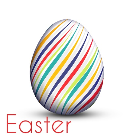 Background  Easter egg painted with color lines on white isolated, digital illustrations Vector